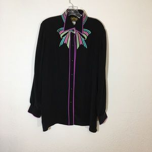 BOB MACKIE Black Silk Bow Tie Button Up Top Size L